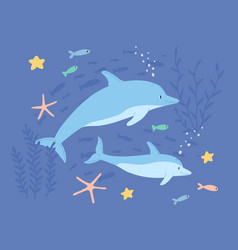 Underwater life two cute dolphins in sea vector