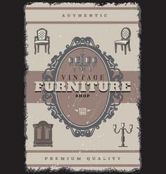 Vintage furniture shop poster vector