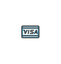 visa icon line design e commerce icon vector image