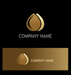 Water drop liquid gold logo vector