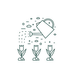 water plants from watering can line icon vector image