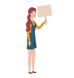 woman with tag of wood avatar character vector image