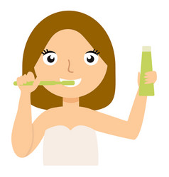 young caucasian woman brushing her teeth vector image