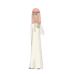 Young muslim man showing palm hand vector