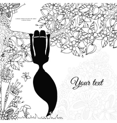 Zen Tangle girl hangs on a vector image