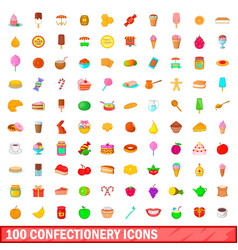 100 confectionery icons set cartoon style vector image vector image