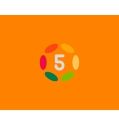 Color number 5 logo icon design Hub frame vector image