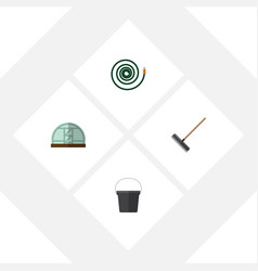 Flat icon dacha set of hothouse hosepipe pail vector