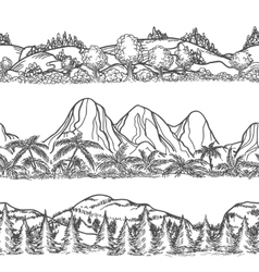 Mountains and forest hand drawn landscapes vector image