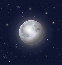 Nightly sky scene background with moon and stars vector