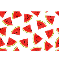 Seamless background with watermelon slices vector