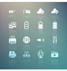 social media and Mobile Interface icons set on Ret vector image