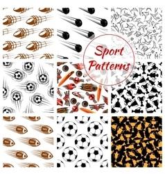 Sport balls items seamless patterns set vector image