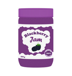 blackberry jam in glass jar made in flat style vector image vector image