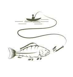 Fishing Man on a Boat Drawing vector image