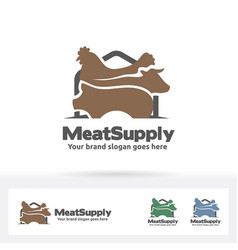 Meat supply logo beef chicken and pig symbol vector