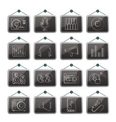 Music and audio equipment icons vector image vector image