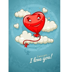Red heart baloon flying among vector image vector image