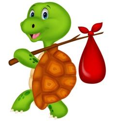 Turtle cartoon traveling vector image vector image
