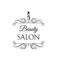 Beauty Salon Label Lips Lipstick Badge Filigree vector image vector image