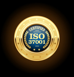 Iso 37001 - anti-bribery management systems medal vector