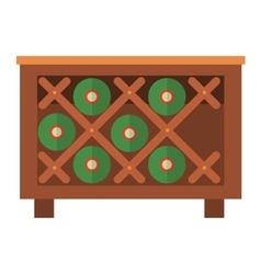 Wine bottles in wooden crate box vector