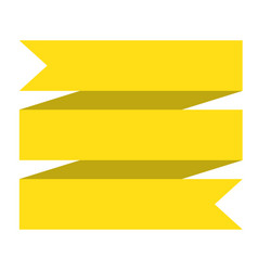 yellow ribbon banner on white background yellow vector image