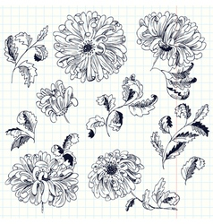 Abstract flowers and leaves vector image vector image