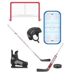 set of hockey equipment vector image