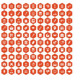 100 finance icons hexagon orange vector