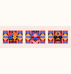 abstract geometric ethnic face bauhaus vector image