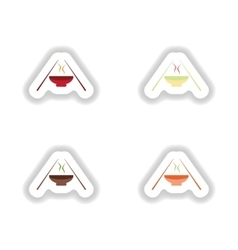 Assembly stickers on white miso soup and sticks vector