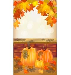 Autumn pumpkin holiday postcard vector image