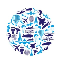 aviation big set of blue icons in circle eps10 vector image