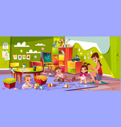 Babies playing in kindergarten cartoon vector