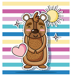 bear animal patch sticker design vector image