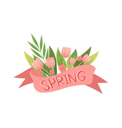 bouquet pink tulips with ribbon hello spring vector image