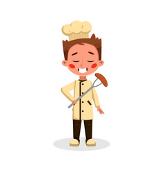 Boy professional chef character holding sausage on vector