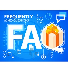 bright faq and gift box with bow on blue bac vector image