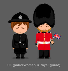 British people police woman and royal guard with vector