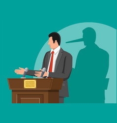 Businessman with long nose shadow on wall vector