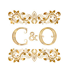 C and o vintage initials logo symbol letters vector