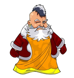 Cartoon asian grandfather in Santa Claus clothes vector