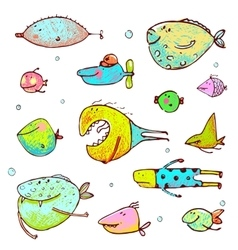 Cartoon Fun Humorous Fish Drawing Collection vector