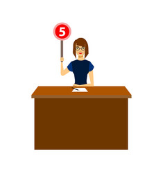 cartoon woman judge jury character showing or vector image