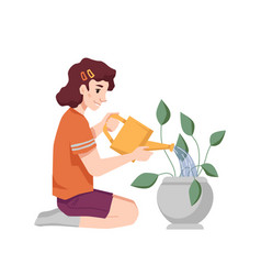 caucasian girl with water can watering home plant vector image