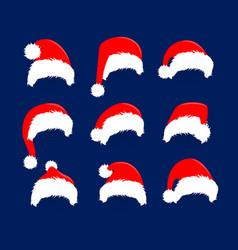 christmas hats icon set santa claus costume vector image