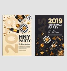 Christmas party flyer design- golden design 2019 4 vector