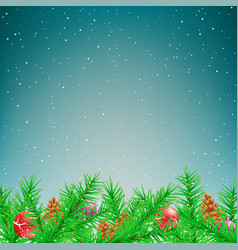 christmas spruce winter snow fall vector image