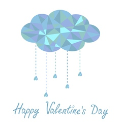 cloud with hanging drops Polygonal Valentines Day vector image